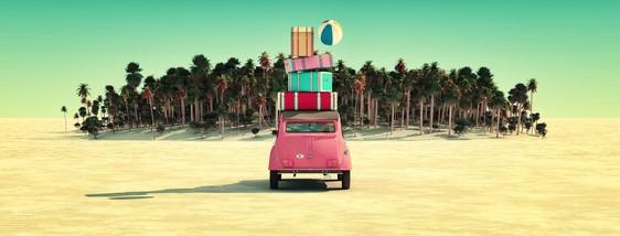 Paisaje de sol y playa en 3d